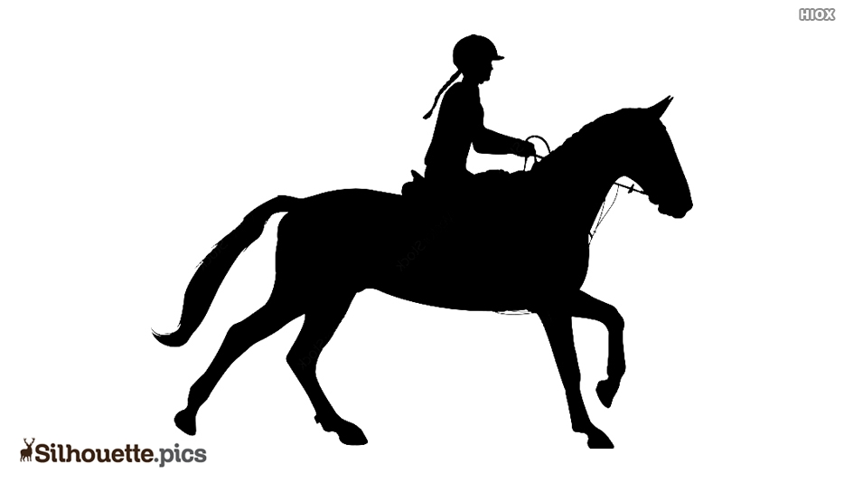 Girl Riding Horse Silhouette Picture.
