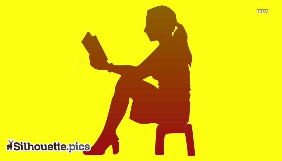 Girl Sitting Reading Book Silhouette