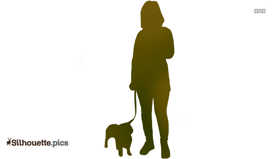 Girl Standing With Puppy Silhouette