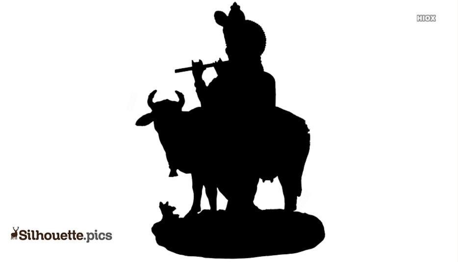 God Krishna Cartoon Silhouette Image