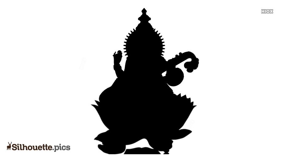 Goddess Saraswati Devi Silhouette