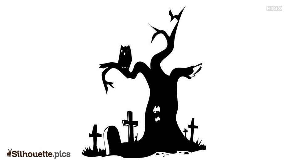 Graveyard Tree and Halloween Owl Silhouette