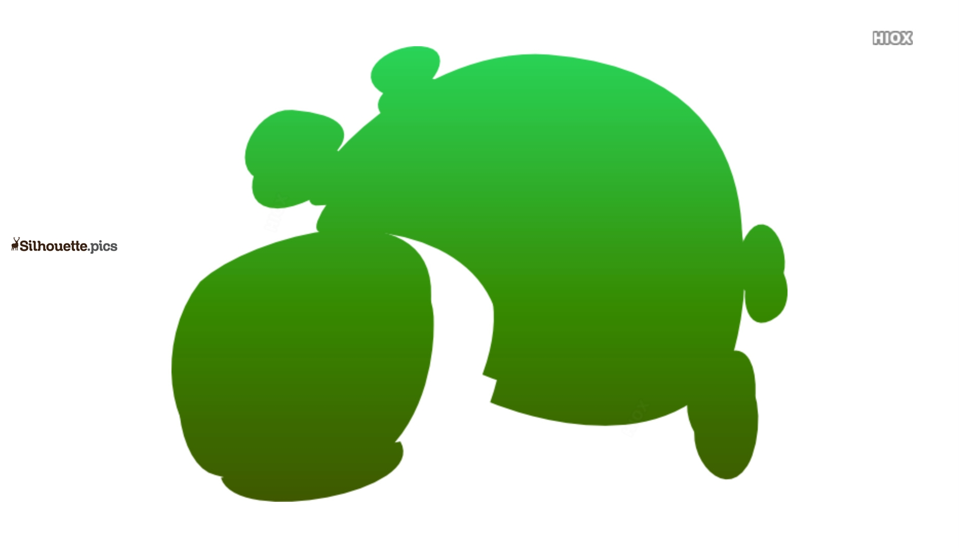 Green Tortoise Cartoon Silhouette