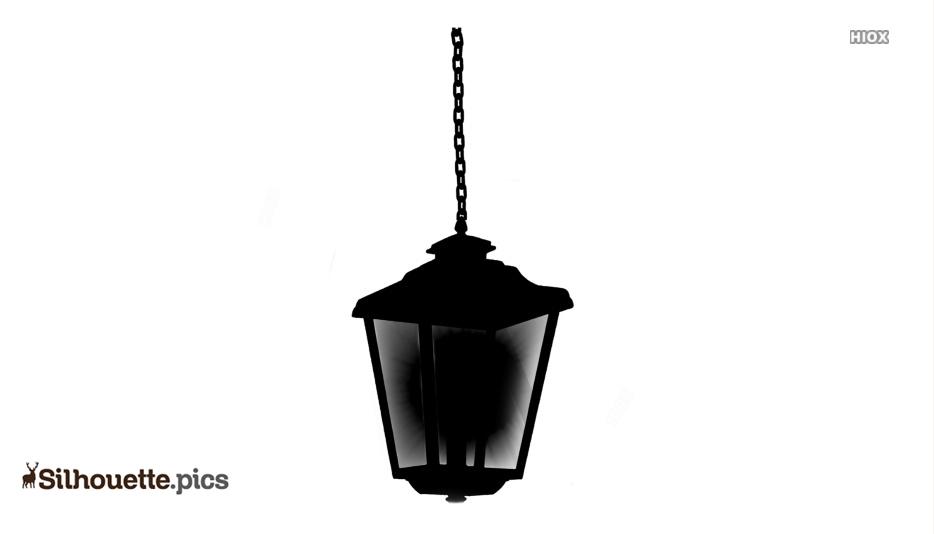 Hanging Lantern Light Vector Silhouette