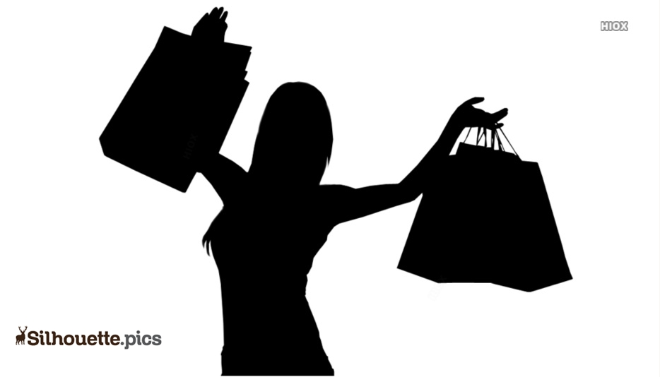 Happy Woman Holding Shopping Bags Silhouette