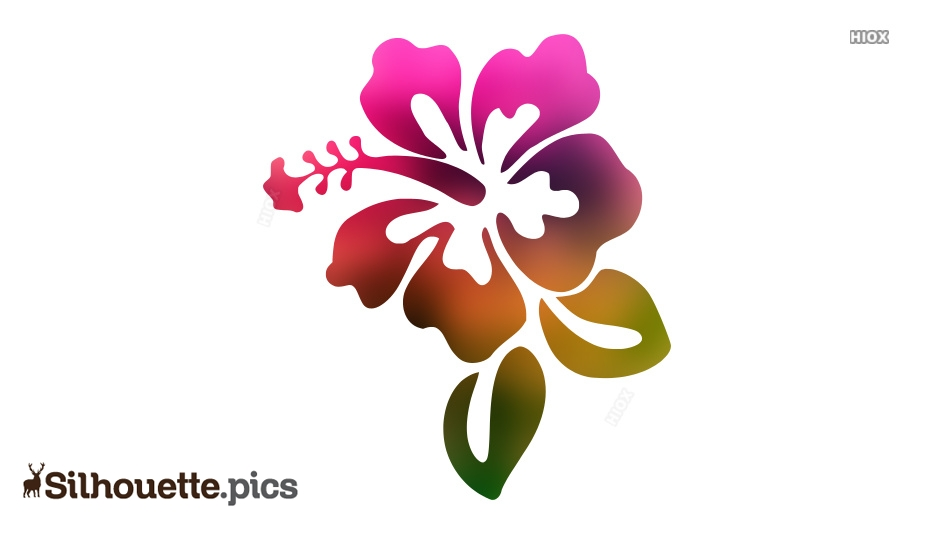 Hibiscus Flower With Leaves Silhouette