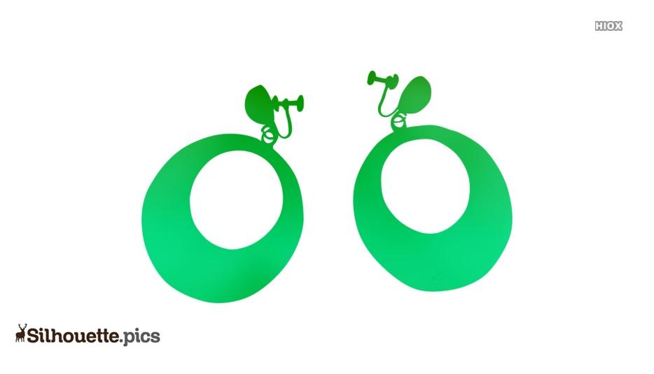 Hoop earrings for Girls Silhouette Vector