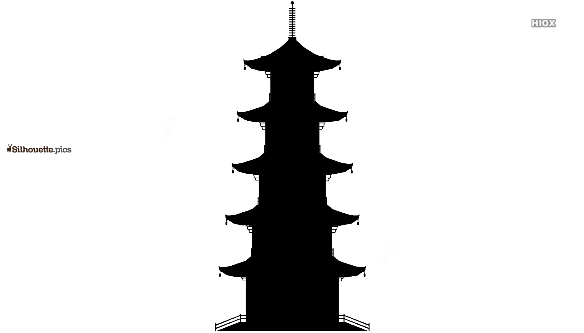Japanese Temple Silhouette Drawing