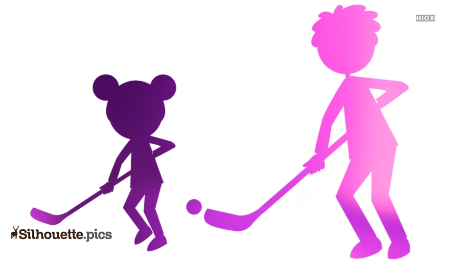 Kids Playing Hockey Clipart Silhouette