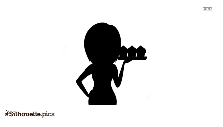Lady Waitress Silhouette Icon