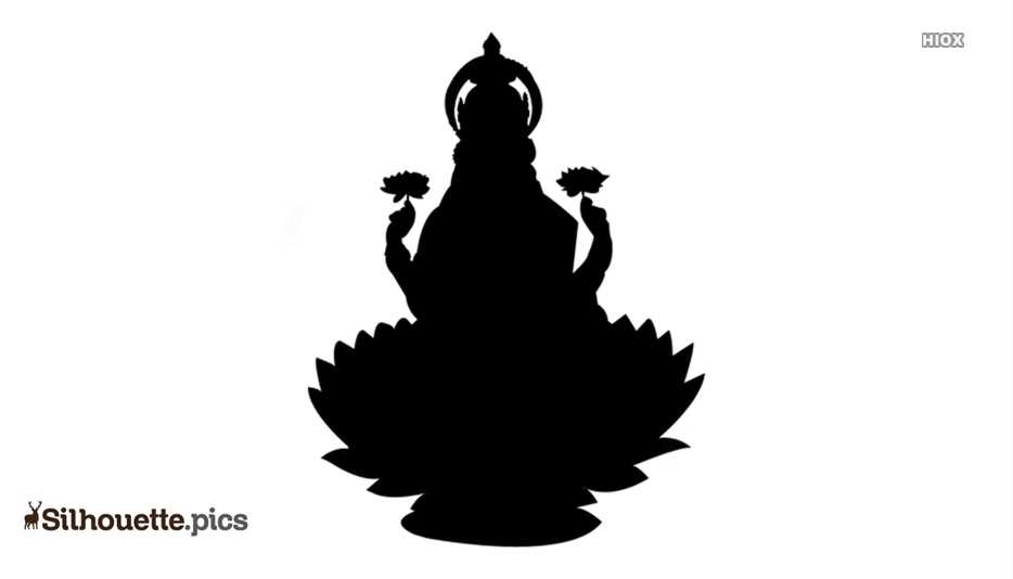 Laxmi Devi On Lotus Silhouette