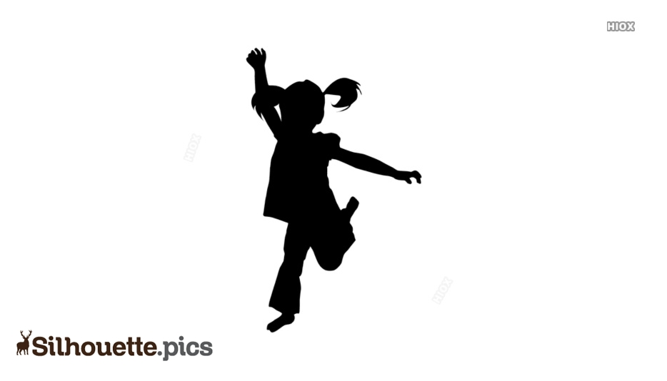 Little Girl Jumping Silhouette Vector Image