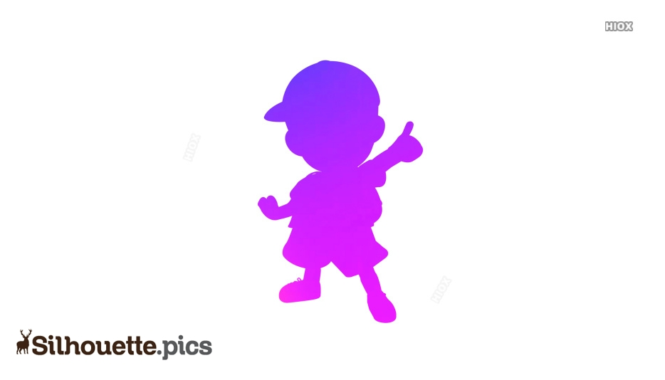 Little School Boy with Cap Silhouette Image