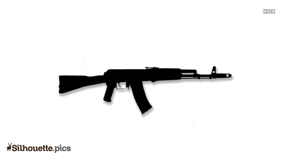 Machine Gun Vector Silhouette Images, Pictures