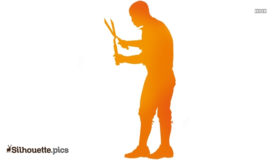 Man With Grass Shears Silhouette