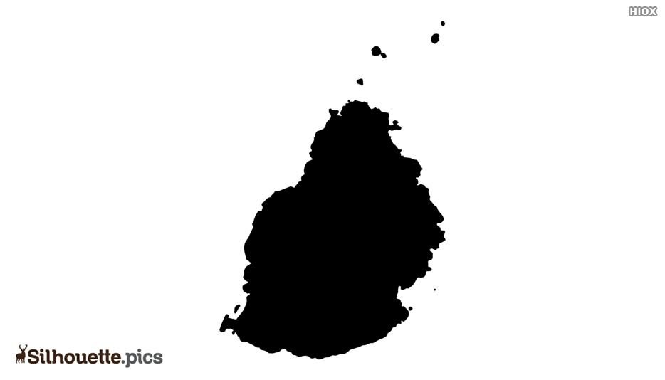 Mauritius Map Silhouette Art