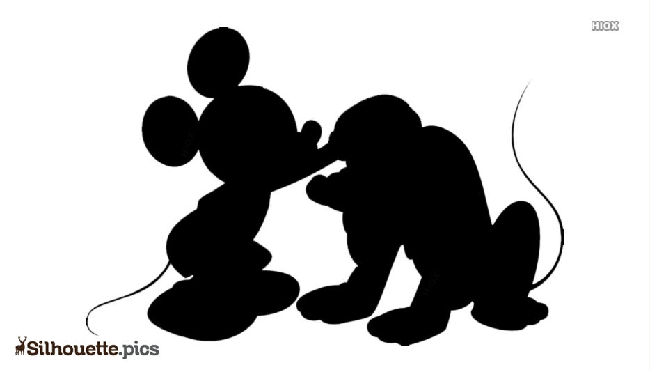 Mickey Mouse And Dog Clipart Silhouette
