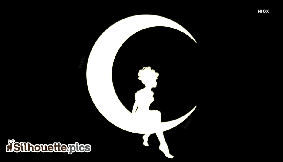 Moon With Girl Silhouette