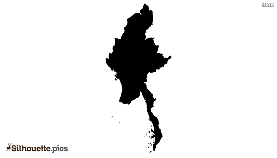 Myanmar Map Black and White Silhouette