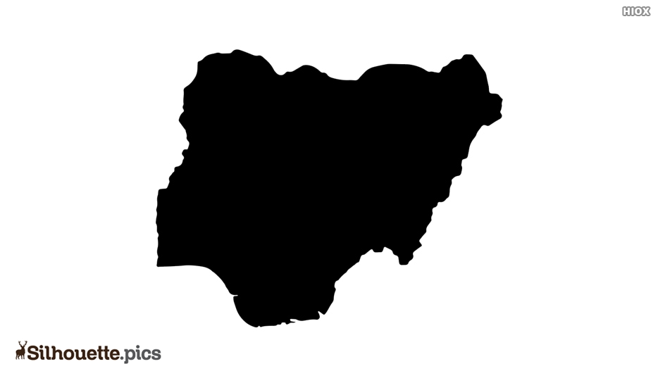Nigeria Map Black and White Silhouette