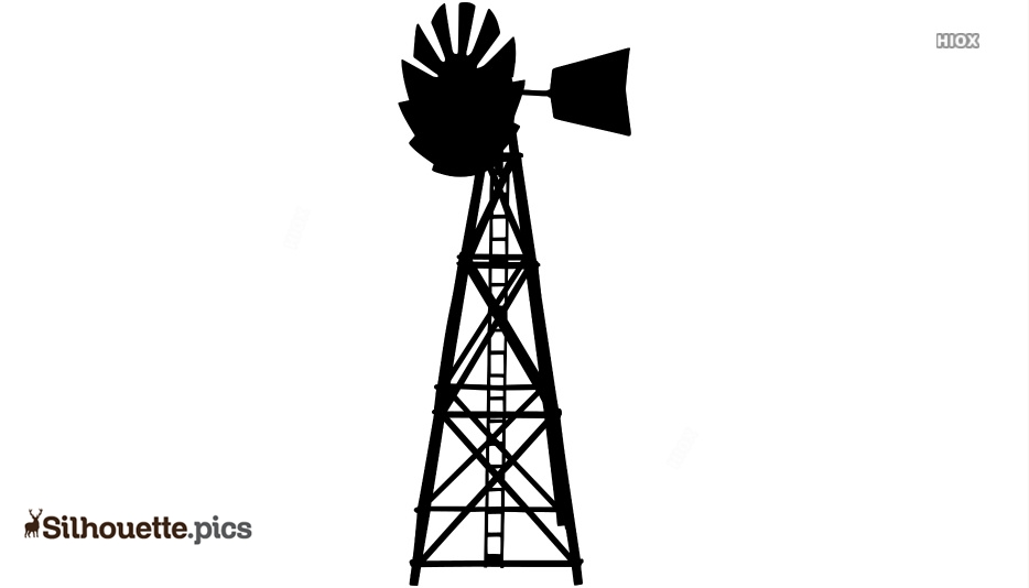 Old Metal Windmill Silhouette