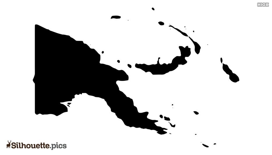 Papua New Guinea Map Black and White Silhouette