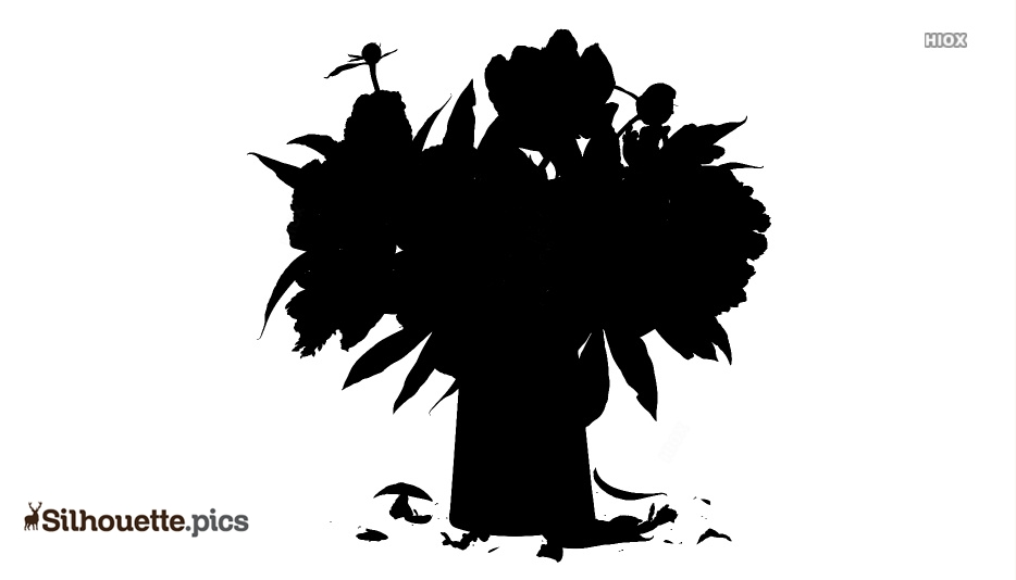Peony Flowers Logo Silhouette For Download
