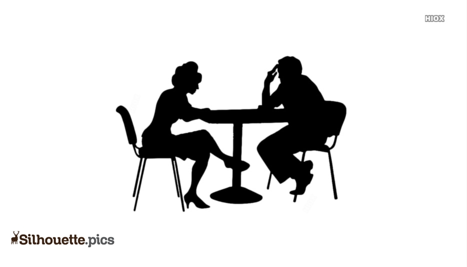 People With Tables Silhouette Image And Vector
