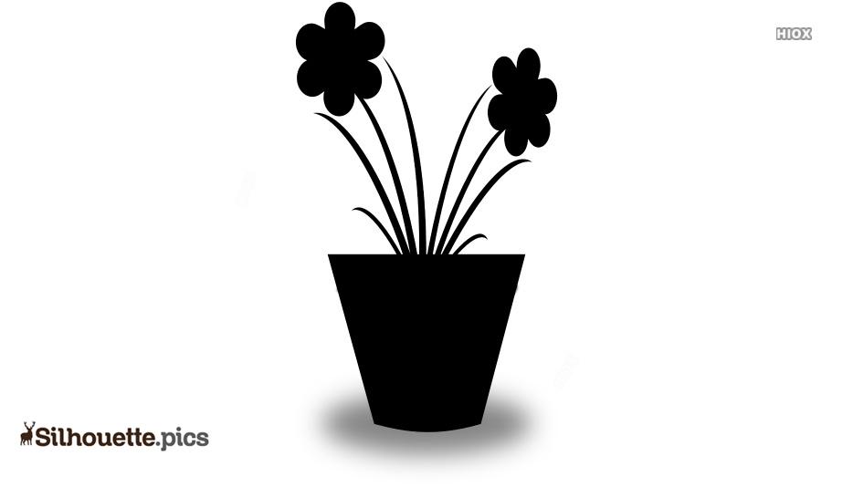 Pot Flower Vine Silhouette Vector