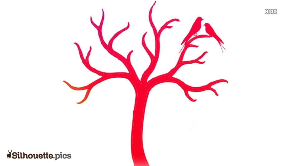 Red Tree With Love Birds Silhouette