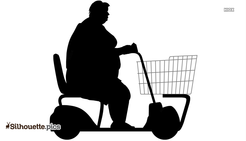 Riding Shopping Wheel Silhouette Drawing
