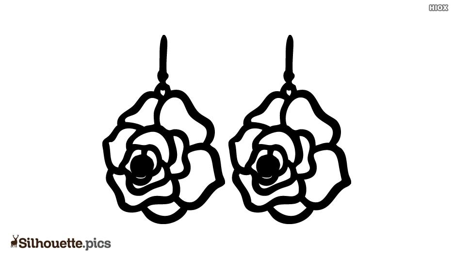 Rose Earrings Silhouette
