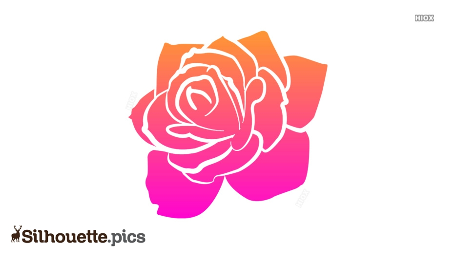 Rose Outline Vector Silhouette