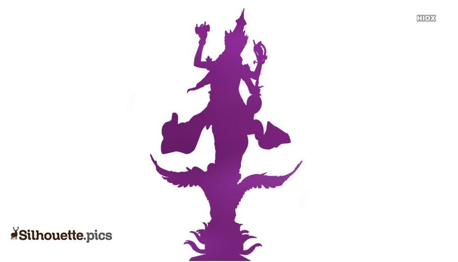 Saraswati Devi Silhouette Vector Image