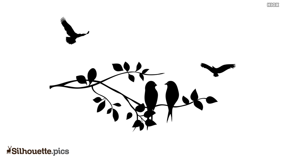 Silhouette Image Birds On Branch.