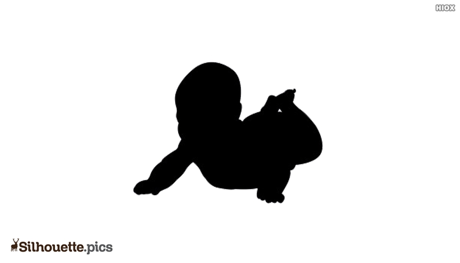 Silhouette Of A New Born Crawling.