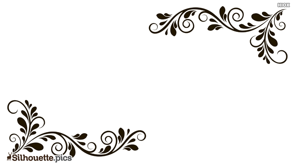 Silhouette Of Floral Border