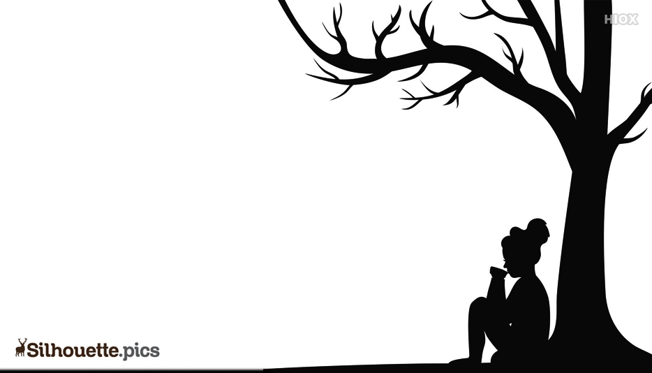 Silhouette Of Girl Sitting Under A Tree
