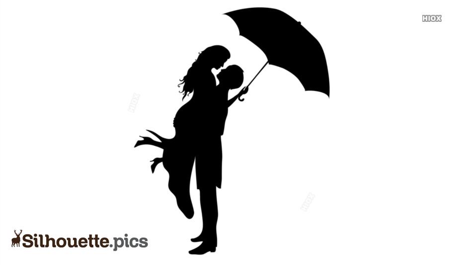 Silhouette Under Umbrella