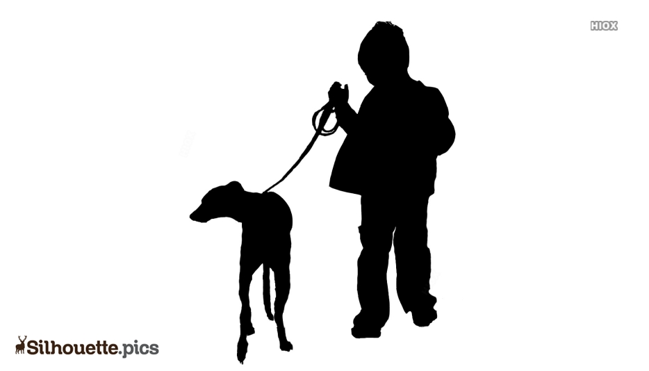 Small Boy With Dog Silhouette Image