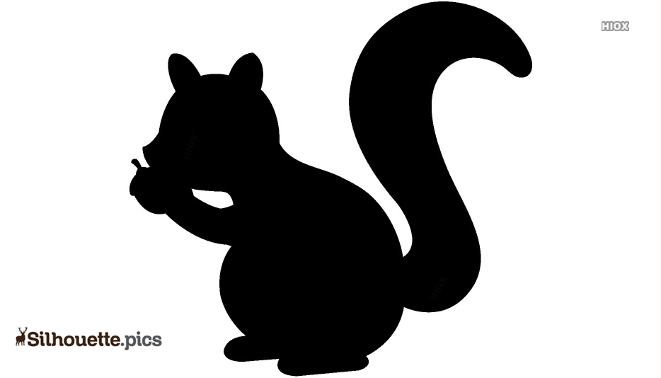 Squirrel With Nut Silhouette Art