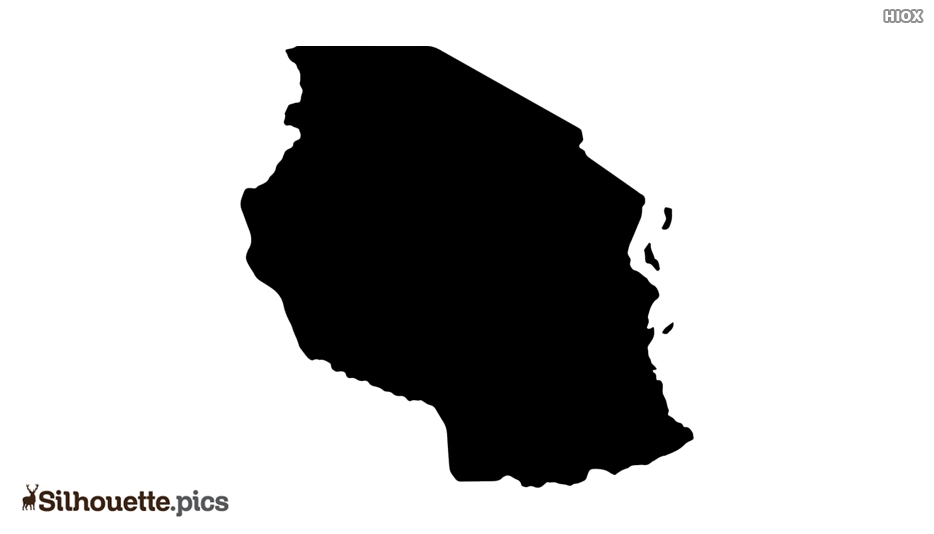Tanzania Map Black and White Silhouette