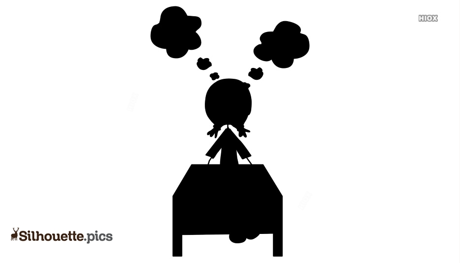 Thinking Girl Cartoon Silhouette Image