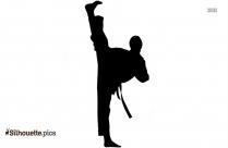 Black Karate Kick Silhouette Image