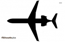 Airplane Top View Silhouette Image