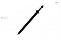 Ancient Sword Silhouette Clip Art