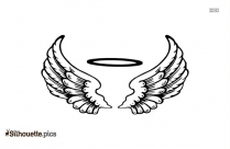 Angel Halo With Wings Outline Silhouette