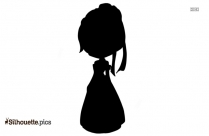 Black And White Cute Chibi Anna Silhouette