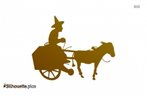 Antique Toys Clipart || Toy Man On Cart Silhouette