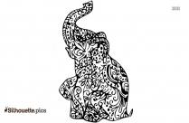 Baby Elephant Mandala Clipart Silhouette